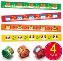 Baker Ross Ltd Woodland Friends Slap on Bracelets (Pack of 4) Snap - on Bracelet for Kids Party Bag Fillers
