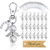 MOVINPE 20 Angel Favor Lucky Horseshoe Keychains Plus Organza Bags Plus Thank You Kraft Tags, Guest Return Gifts for Baby Shower, Bridal Shower, Wedding, Party Charm Favors (Silvery 20pcs)