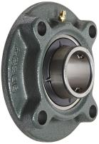 """NTN UCFC208D1 Light Duty Piloted Flange Bearing, 4 Bolts, Setscrew Lock, Regreasable, Contact and Flinger Seals, Cast Iron, 400mm Bore, 4-23/32"""" Bolt Hole Spacing Width, 5-23/32"""" Height, 4002lbf Static Load Capacity, 6542lbf Dynamic Load Capacity"""
