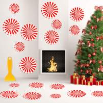 Outus 16 Pieces Peppermint Floor Decals Stickers Candy Wall Decal with Scraper for Christmas Party Decoration Supplies (Style 3)