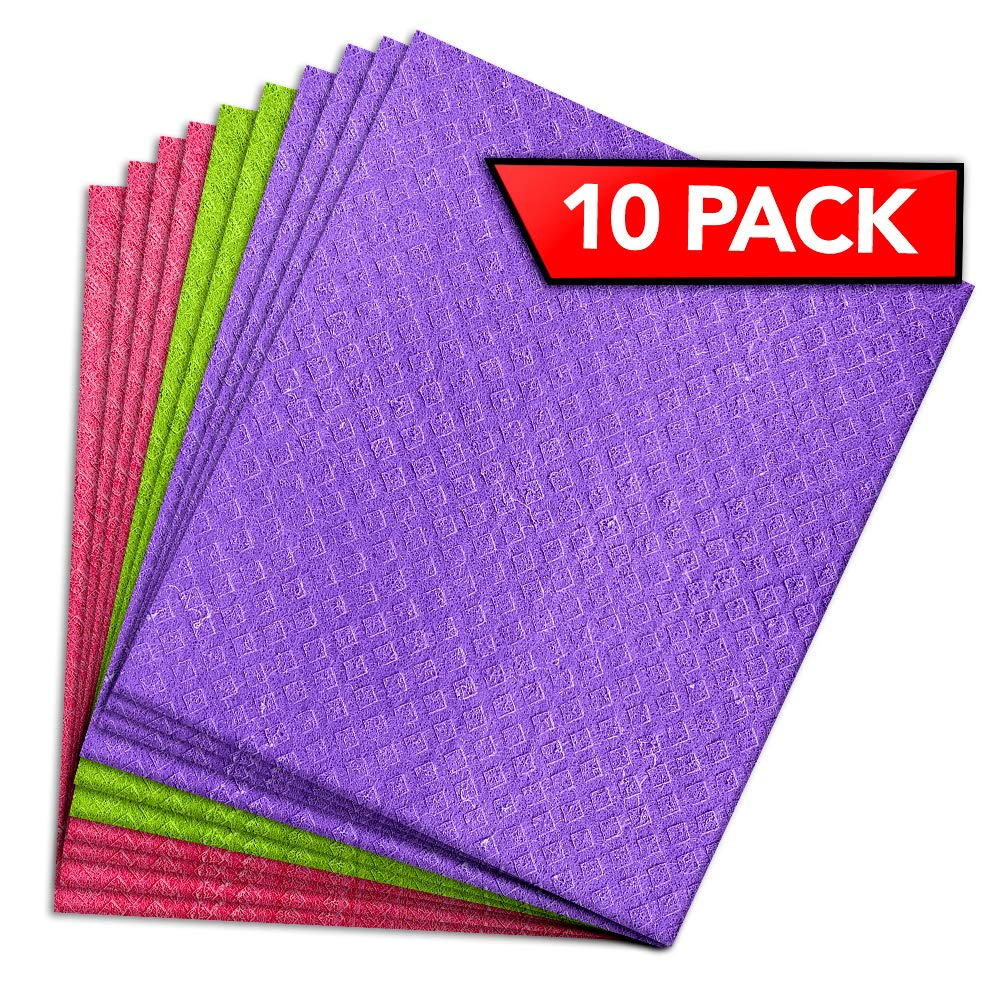 PINK RHINO LABS Swedish Dishcloth for Kitchen - Eco-Friendly Kitchen Towels and Dishcloth Sets Reusable Paper Towels - Cellulose Dish Sponge Cleaning Cloth