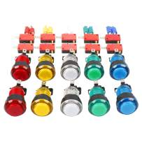 EG STARTS 10x New 12V LED lit Arcade Push Buttons with Micro Switch for Jamma Mame Games Parts Multicade Choice of 5 Colour