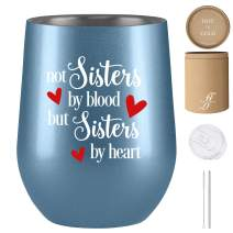 Not Sisters by Blood but Sisters by Heart, Best Friend Gifts for Women, Unbiological Sister Gifts, Soul Sister Gifts, Fancyfams 12 oz Stainless Steel Wine Tumbler, Sister in Law Gifts (Silver Blue)