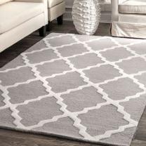 nuLOOM Marrakech Trellis Wool Rug, 5' x 8', Light Grey