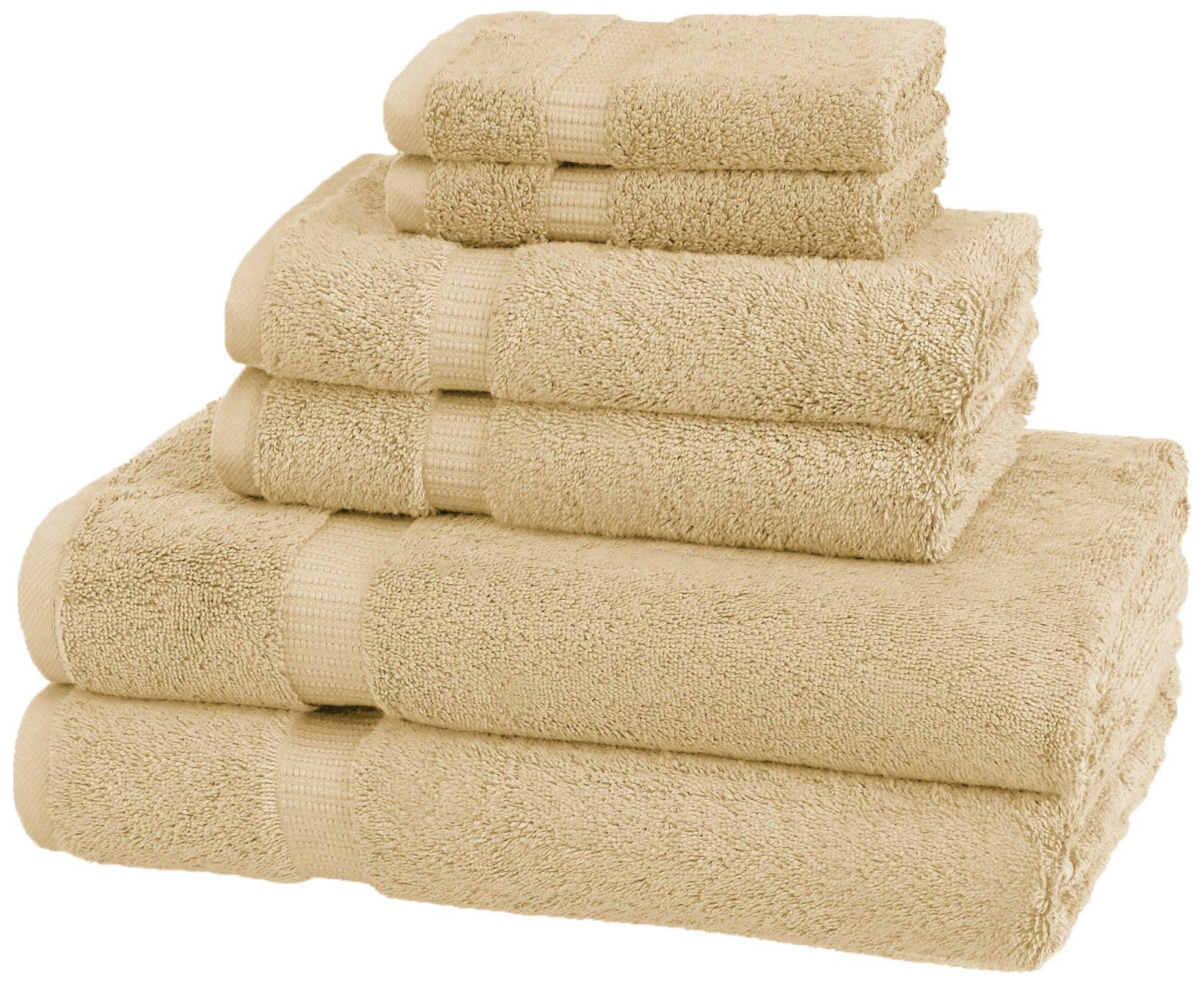 Pinzon Organic Cotton Bathroom Towels, 6 Piece Set, Sand