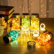 GIGALUMI Solar Multicolor Mason Jar Lights - 6 Pack 30 LEDs Fairy String Lights Hanging Solar Lanterns Table Lights Outdoors for Christmas, Garden, Yard and Patio Décor (Hangers and Jars Included)