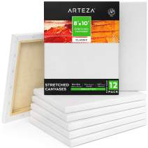 "Arteza 8""x10"" Stretched White Blank Canvas, Bulk (Pack of 12), Primed 100% Cotton, for Painting, Acrylic Pouring, Oil Paint & Wet Art Media, Canvases for Professional Artist, Hobby Painters & Beginner"