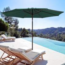 Bumblr 10ft Patio Umbrella Outdoor Market Table Umbrella with Push Button Tilt/Crank & 8 Sturdy Ribs Sun Umbrella for Garden Lawn Deck Backyard Pool, Dark Green New