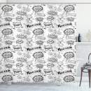 "Lunarable Sketch Shower Curtain, Pattern with Comic Book Doodle Speech Bubbles Sound Effects Cloud Pop Art Humor, Cloth Fabric Bathroom Decor Set with Hooks, 70"" Long, White Black"