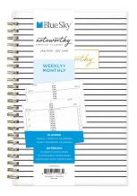 """Blue Sky Noteworthy 2019 Weekly & Monthly Planner and Notebook, Flexible Cover, Twin-Wire Binding, 5"""" x 8"""", Stripe"""