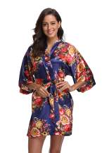 Floral Robes for Women Bride Bridesmaid Short Kimono Robe Satin Dressing Gown for Wedding Party