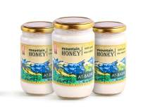 Raw White Honey; Natural Organic Creamed Wildflower Mountain Honey from Central Asia – Unheated & Unfiltered - Contains Natural Enzymes, Pollen & Propolis – by Mira Nova (3-PACK)