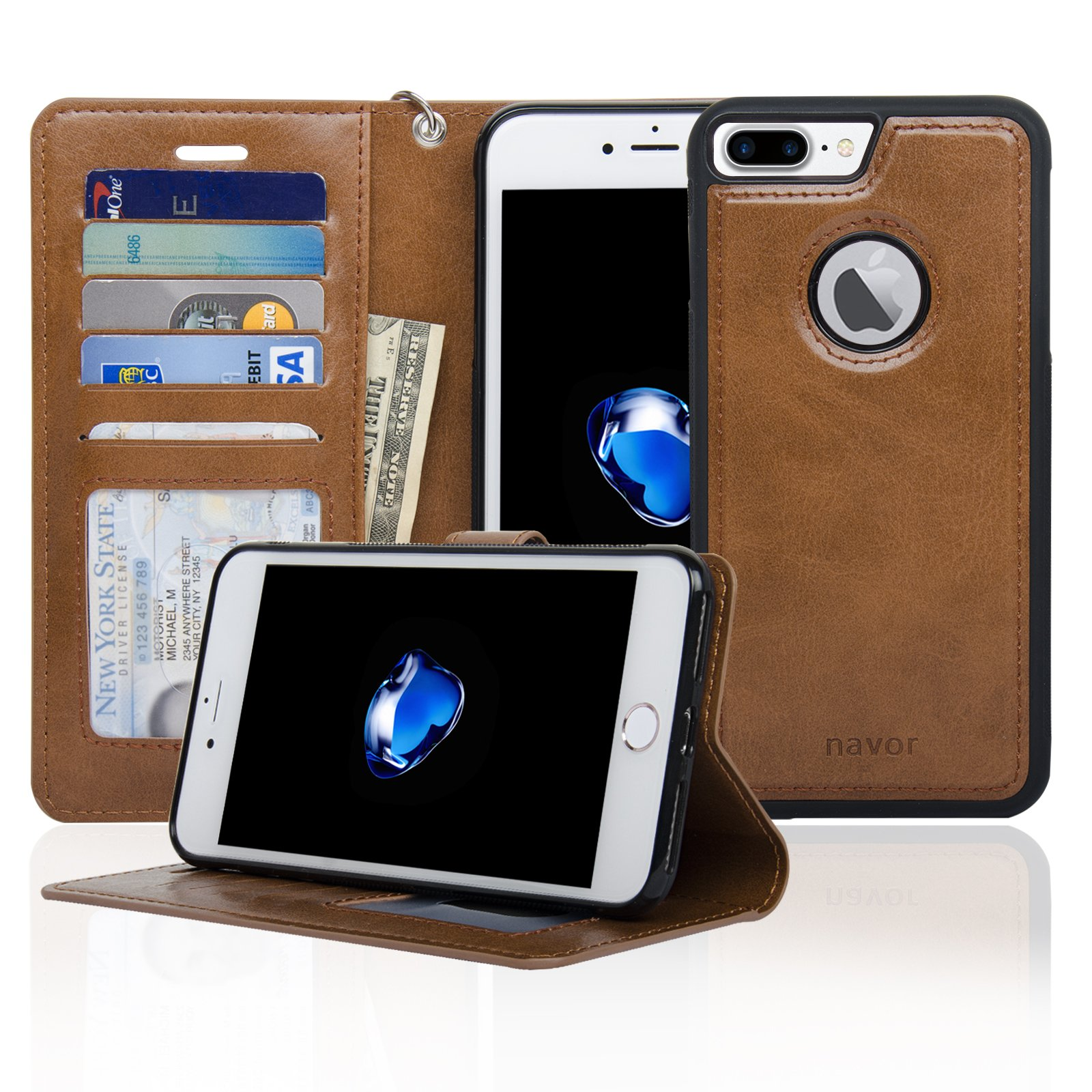Navor Auto Align Detachable Magnetic Wallet Case Compatible for iPhone 7 Plus [RFID Theft Protection] JOOT-1L Series -Brown (IP7P1LBR)
