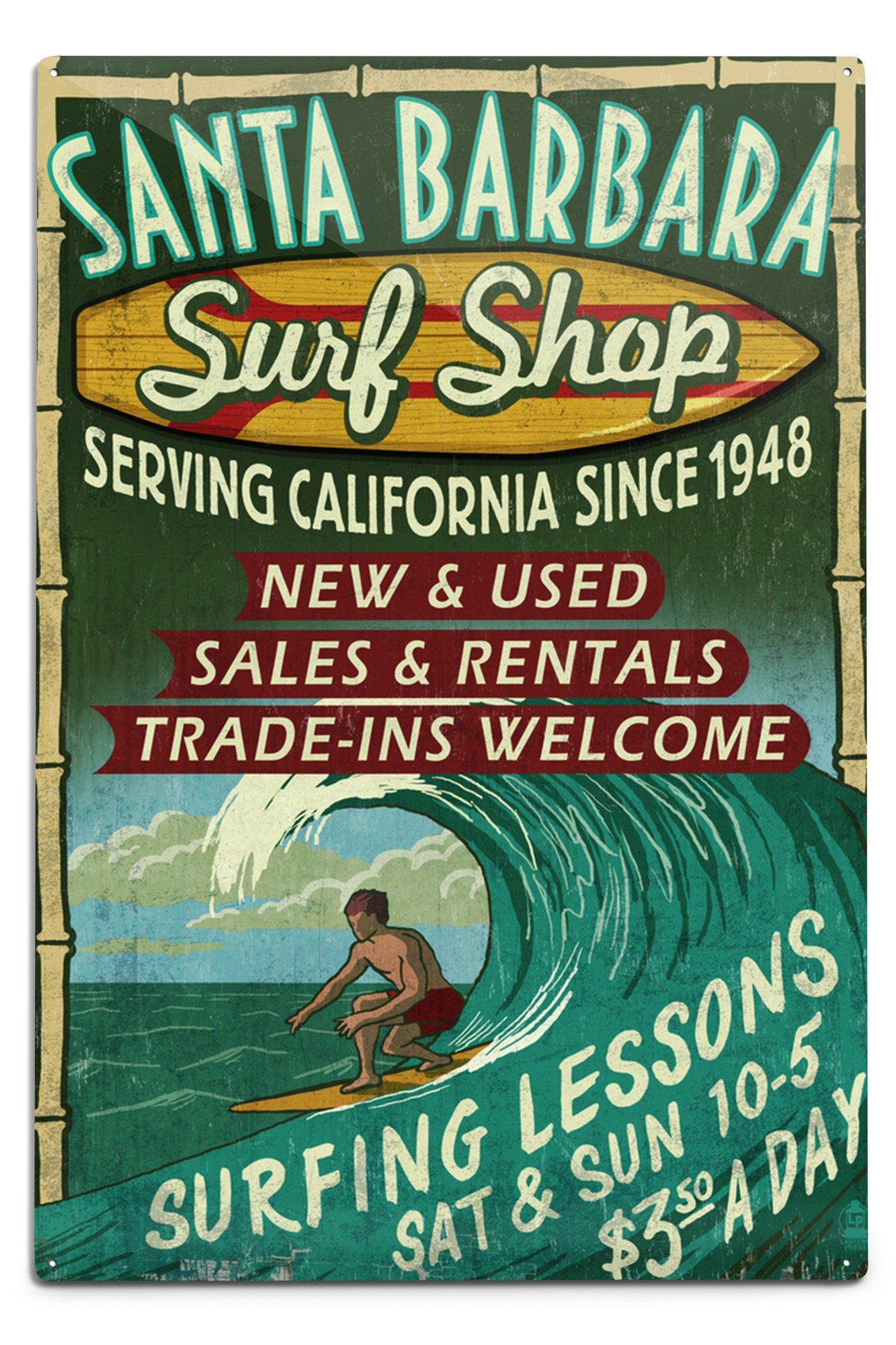 Lantern Press Santa Barbara, California - Surf Shop Vintage Sign (12x18 Aluminum Wall Sign, Wall Decor Ready to Hang)