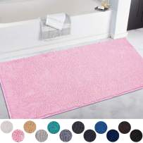DEARTOWN Non-Slip Shaggy Bathroom Rug,Soft Microfibers Chenille Bath Mat with Water Absorbent, Machine Washable(Pink,31x59 Inches)