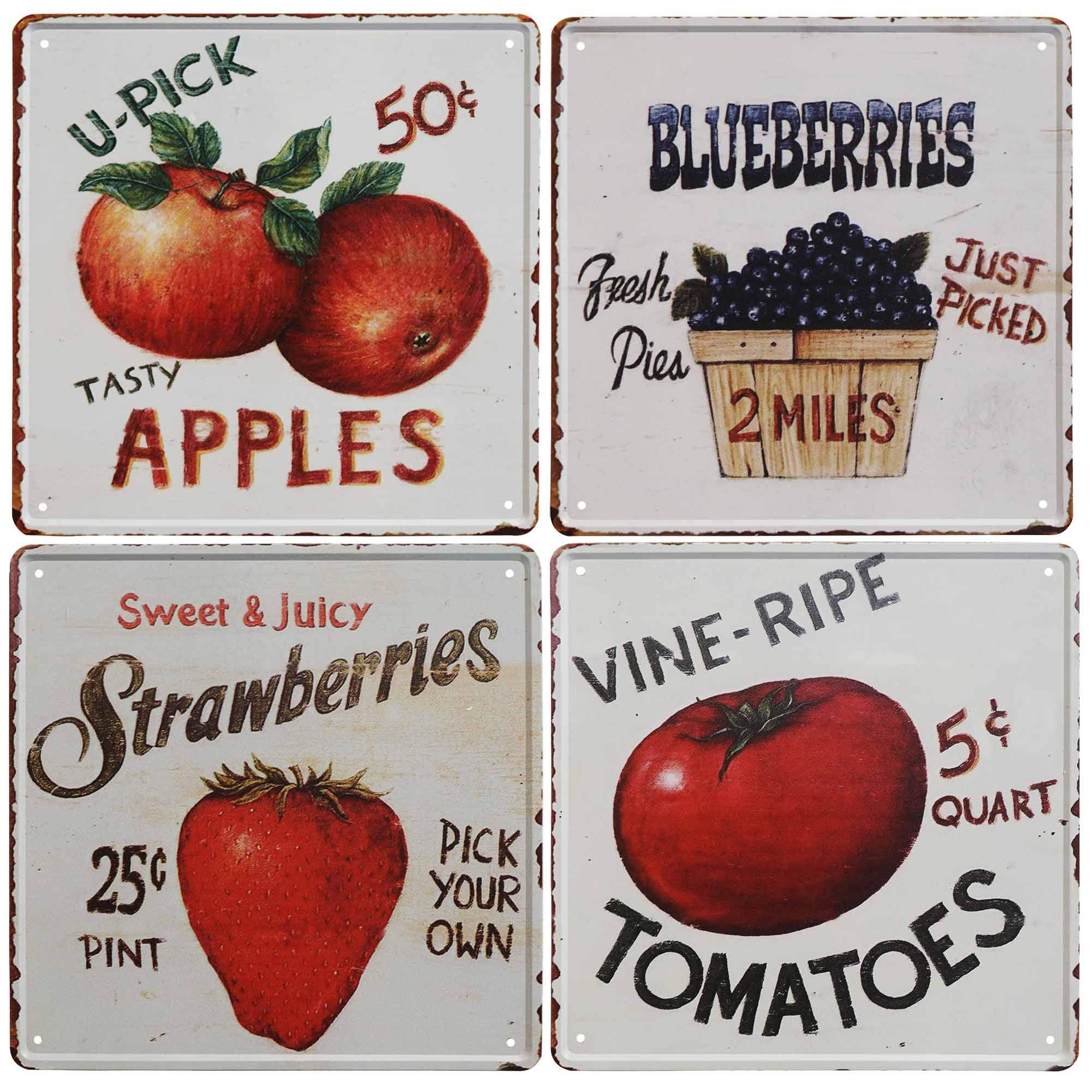 TISOSOVintage Fruit Signs Vine Ripe Tomatoes,Sweet Juicy Strawberries,Tasty Apples,Fresh Picked Blueberries Reto Vintage Tin Bar Sign Country Home Decor Wall Decoration Signs Gifts 4pcs-12X12inch