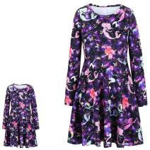 Jxstar Girls&Doll Matching Dresses Long Sleeve Unicorn Mermaid Outfits Clothes