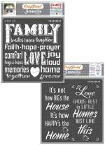 CrafTreat Family Stencils for Painting on Wood, Canvas, Paper, Fabric, Floor, Wall and Tile - Family and Happy Home - 2 Pcs - 6x6 Inches Each - Reusable DIY Art and Craft Stencils with Quotes