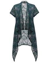 Allegra K Women's Open Front Crochet Draped Sheer Lightweight Floral Lace Long Cardigan