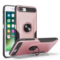 DEFBSC iPhone 7 Plus 8 Plus Phone Case with Ring Kickstand,360 Degree Rotating Ring Kickstand Armor Defender Shockproof Protective Case Cover for iPhone 7 Plus/8 Plus,Rose Gold