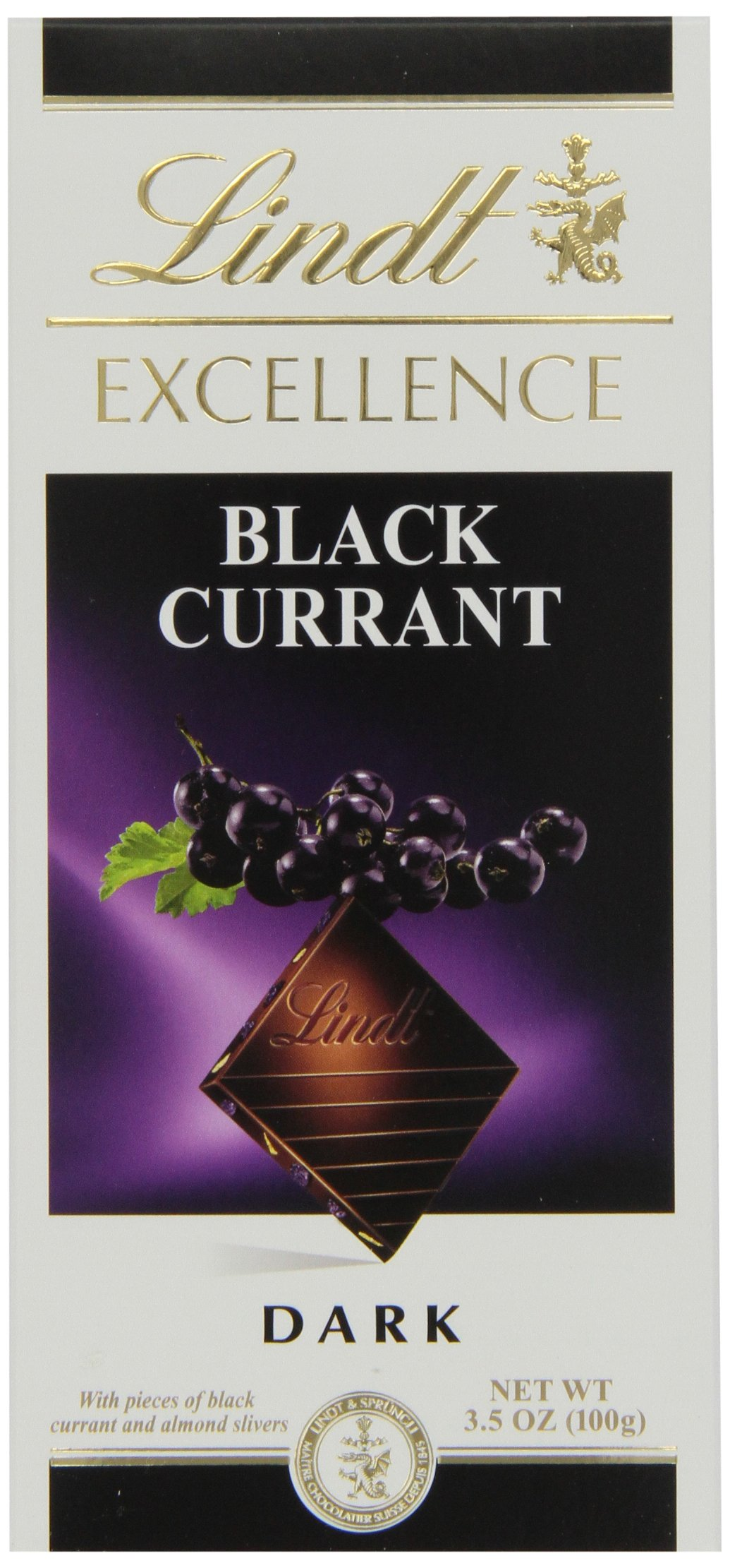 Lindt Chocolate Excellence Black Currant Chocolate Bar, 3.5-Ounce (Pack of 12)