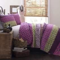 Lush Decor Royal Empire Quilt Striped Pattern Reversible 3 Piece Bedding Set, Full/Queen, Plum