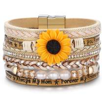 Sunflower Sunshine Leather Boho Wrap Stack Bracelet,Cuff Bohemian Multilayer Wide Wrist Magnetic Clasp Buckle Casual Bracelets for Women Mom Teen Girls Grandma