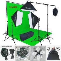 Linco Lincostore 2400 Watt Photo Studio Lighting 10x20ft Green Backdrop Photography Background Stand Light Kit AM144-G