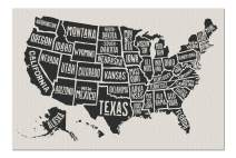 United States of America - Black & White Hand-drawn Map with State Names 9024688 (Premium 1000 Piece Jigsaw Puzzle for Adults, 19x27, Made in USA!)