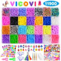 VICOVI 11900+ Loom Rubber Bands for Kids Bracelet Making Craft -11000pc Rainbow Rubber Loom Bands in 28 Different Colors + 600 Clips + 210 Beads + 54 Lovely Charms