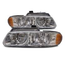 HEADLIGHTSDEPOT Chrome Housing Halogen Headlights w/Quad option Compatible with Chrysler Dodge Plymouth Caravan Town & Country Voyager Includes Left Driver and Right Passenger Side Headlamps