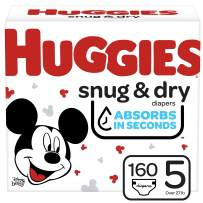 Huggies Snug & Dry Baby Diapers, Size 5, 160 Ct, One Month Supply