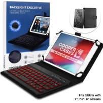 Cooper Backlight Executive Keyboard Case for 7-8 Inch Tablets | 2-in-1 Bluetooth Wireless Backlit Keyboard, Leather Folio, 7 Color Keys (Black)