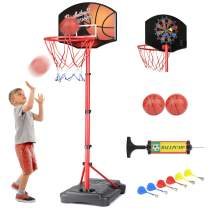 KAMDHENU Basketball Hoop, Kids Toy Basketball Hoop with Darts Target 2 in 1 with Height-Adjustable 3.2ft-6.2ft, Portable Basketball Hoop Indoor and Outdoor Activities for Kids Age 3-8(with 2 Balls)