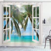 """Ambesonne Tropical Shower Curtain, Window to The Exotic Beach Landscape Pastoral Composition with Palm Trees, Cloth Fabric Bathroom Decor Set with Hooks, 84"""" Long Extra, Aqua Green"""
