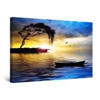 "Startonight Canvas Wall Art Blue Landscape Tree, Boat and Sea Painting Framed 24"" x 36"""