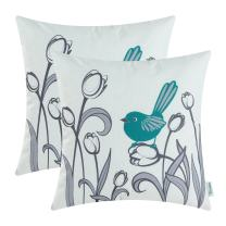 CaliTime Pack of 2 Soft Canvas Throw Pillow Covers Cases for Girls Couch Sofa Hand Drawing Cute Bird with Gray Sweet Tulip Floral Print 18 X 18 Inches Teal