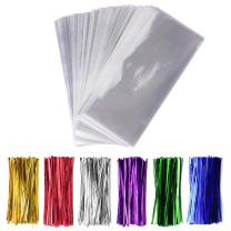 """200 Pcs 4"""" x 9"""" Cellophane Treat Bags Clear Flat Cello Treat Bags 1.4mil thickness with 6 Mix Colors Twist Ties Good for Bakery Cookies Christmas Halloween Wedding Party Decorative Gift (4'' x 9'')"""