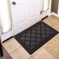 "Carvapet Moroccan Trellis Non-Slip Doormat Durable Honeycomb Texture Kitchen Rug Runner Carpet Set, Indoor Outdoor, Low-Profile Mats for Entry, Garage, Patio, High Traffic Areas, 20""x32"", Grey"