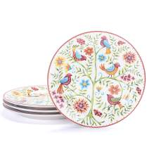 Bico Red Spring Bird Salad Plates Set of 4, Ceramic, 8.75 inch, Microwave & Dishwasher Safe