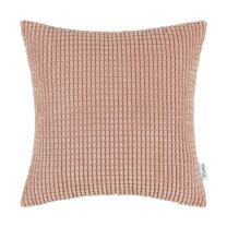CaliTime Cozy Throw Pillow Cover Case for Couch Sofa Bed Comfortable Supersoft Corduroy Corn Striped Both Sides 26 X 26 Inches Coral Pink