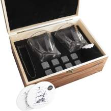 Whiskey Stones and Glass Gift Set - 8 Reusable Granite Chilling Rocks, 2 Large Whiskey Crystal Glasses, Velvet Pouch & Tongs in Elegant Wooden Box, 2 Free Coasters - Treasure Island's Collection