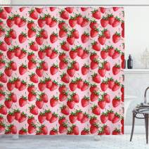 "Ambesonne Red Shower Curtain, Delicious Big Strawberries on Pink Background Tasty Juicy Ripe Summer Fruits, Cloth Fabric Bathroom Decor Set with Hooks, 70"" Long, Red Green"