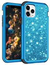 Vofolen for iPhone 11 Pro Max Case with Front Bumper Bling Glitter Shiny Full-Body Protection Hybrid Protective Hard Shell Soft Silicone TPU Rubber Bumper Armor Case for iPhone 11 Pro Max Blue