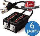 VENTECH 6 Pair (12 Pcs) Mini CCTV BNC Video Balun Transceiver Cable Push Button Terminal