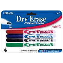 BAZIC Assorted Color Fine Tip Dry Erase Marker, Whiteboard Pens Markers Marcador no-permanente, School Office Home (4/Pack), 1-Pack