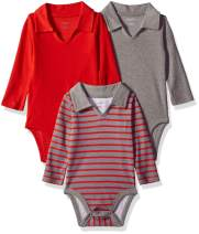 Hanes Ultimate Baby Flexy 3 Pack Long Sleeve Polo Bodysuits