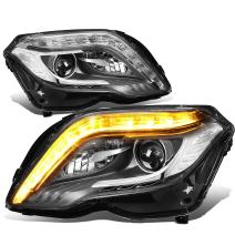 Replacement for 13-15 Mercedes-Benz X204 GLK Class Pair Black HID Projector Headlight LED DRL & Turn Signal Light