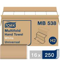 Tork Universal Multifold Paper Towel H2, 3-Panel Hand Towel MB538, 100% Recycled Fibers, 1-Ply, White - 16 x 250 Sheets