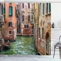"Ambesonne Venice Shower Curtain, Italian City on Water Historical Landmark Famous Streets Houses Gondolas Europe, Cloth Fabric Bathroom Decor Set with Hooks, 70"" Long, Multicolor"